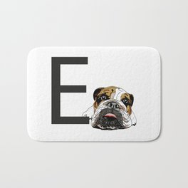 E is for English Bulldog Bath Mat