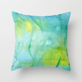 Mermaid´s Grotto Watercolor Throw Pillow