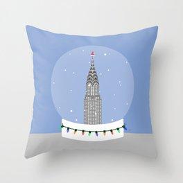 New York City NYC Christmas Snow Globe Throw Pillow