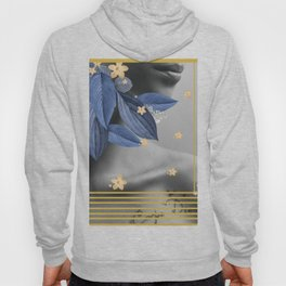 Black and white woman photography with blue leaves and flowers Hoody
