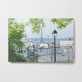 Eiffel Tower Paris View from Montmartre Metal Print