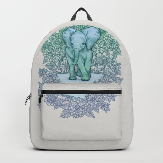 Emerald Elephant in the Lilac Evening Backpack