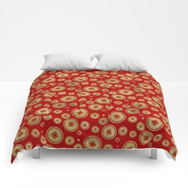 Chinese Coin Pattern Gold on Red Comforters