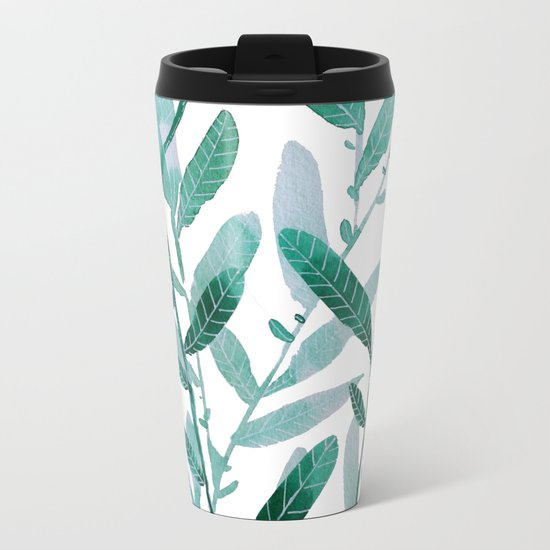 greeen water color leaves Metal Travel Mug