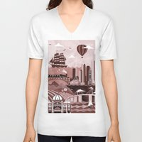 melbourne V-neck T-shirts featuring Melbourne Travel Poster Illustration by ClaireIllustrations