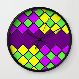 Diamond Mardi Gras Wall Clock