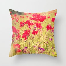 Whisperings of Scarlet Fields Throw Pillow