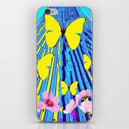 MODERN ART YELLOW BUTTERFLIES PINK FLOWERS BLUE PATTERN iPhone Skin