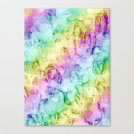 Rainbow Pixel Watercolor Pattern Canvas Print