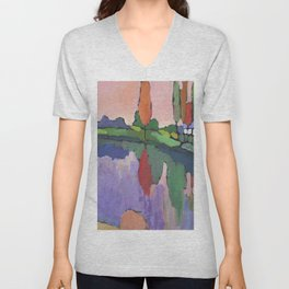 Lake with Tall Trees Unisex V-Neck