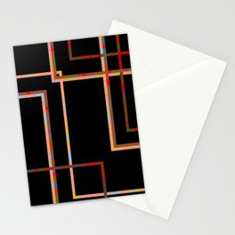 BORDERS - stark colourful line grid design on black Stationery Cards