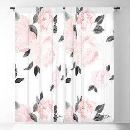 Vintage Blush Floral - BW Blackout Curtain