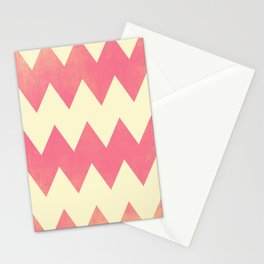 Raspberry Gold and Cream Textured Chevron Stationery Cards