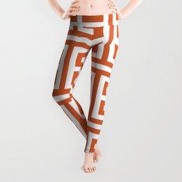 Burnt Orange and White Greek Key Pattern Leggings