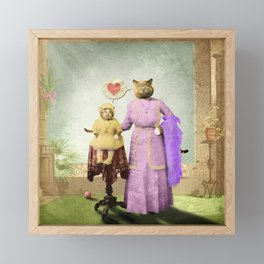 Momma Kitty Loves Her Kitten Framed Mini Art Print