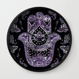 Hamsa Hand  - silver and amethyst Wall Clock