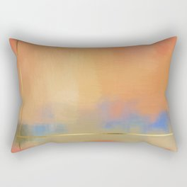 Abstract Landscape With Golden Lines Painting Rectangular Pillow