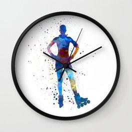 Woman in roller skates 02 in watercolor Wall Clock