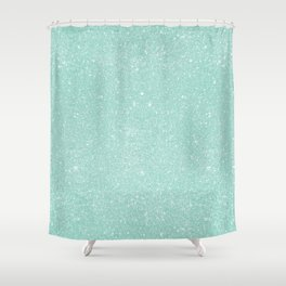 Pastel Turquoise Glitter Shower Curtain