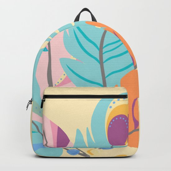 Stylized Peacock Feather Design Backpack