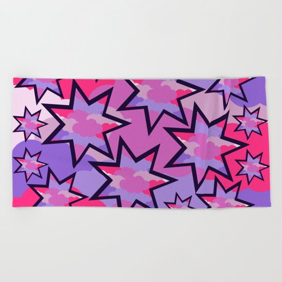 Stars in the clouds Beach Towel