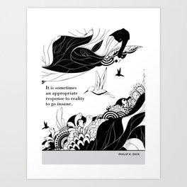 "Philip K. Dick ""Go insane"" cat literary quote Art Print"