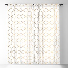 Gold Geometric Pattern on White Background Blackout Curtain