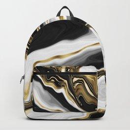 Modern Gold Liquid Swirl Painting Aesthetic Design Backpack
