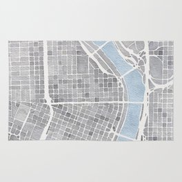 Portland Oregon watercolor city map art Rug