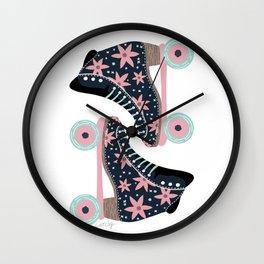 Retro Roller Skates – Denim & Pink Wall Clock