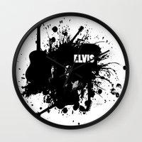 elvis Wall Clocks featuring ELVIS by Ryan Anderson