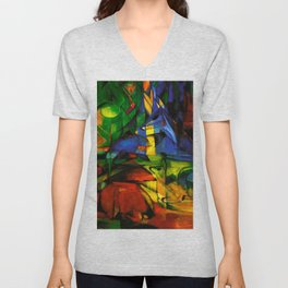 Deers in Wood by Franz Marc Unisex V-Neck