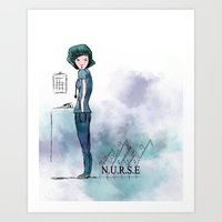 nurse Art Prints featuring Nurse  by Ginkelmier