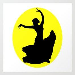 Flamenco Dancer Black, Sun Art Print