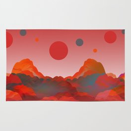 """Coral Pink Sci-Fi Mountains"" Rug"