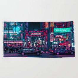 Cyberpunk Tokyo Street Beach Towel