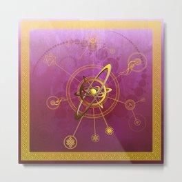 Maroon anu conjunctio spiritualis et luna symbola cum seges circuli Metal Print