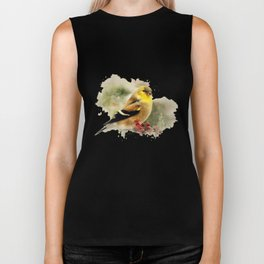 Goldfinch Watercolor Art Biker Tank