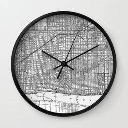 Vintage Map of Detroit Michigan (1901) Wall Clock