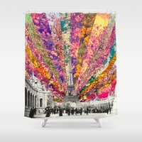 chicago bulls Shower Curtains featuring Vintage Paris by Bianca Green