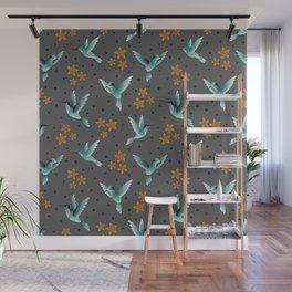 Glowing Hummingbirds Wall Mural