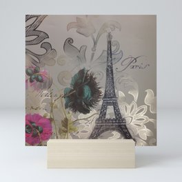 shabby elegance poppy flower french vintage paris Eiffel Tower Mini Art Print