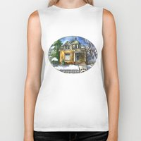 matty healy Biker Tanks featuring The Little Brown House by Shelley Ylst Art
