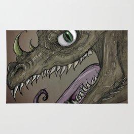 Brown dragon illustration Rug