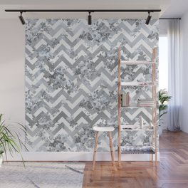 Vintage chic elegant blue gray white geometrical floral pattern Wall Mural