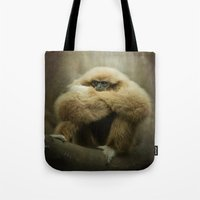 study Tote Bags featuring Study of a Gibbon - The Thinker by Pauline Fowler ( Polly470 )