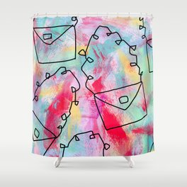 Grab Your Bag and Fly and See the World by Lenna Shower Curtain