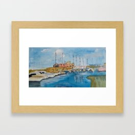 Corralejo´s Harbor Framed Art Print