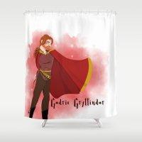 gryffindor Shower Curtains featuring Godric Gryffindor by Hailey Del Rio