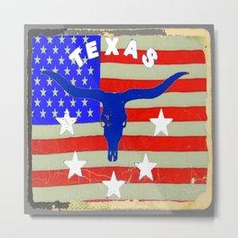 Western Patriotic Texas Longhorn Logo Pattern Art Metal Print